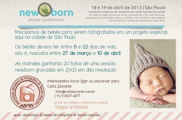 ABFRN, Studio Gaea Boutique e Camiseta Digital apoiam o Newborn Photo Conference